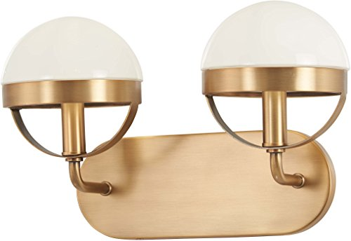 (Minka Lavery Wall Light Fixtures 4592-575 Tannehill Bath Vanity Lighting, 2-Light 80 Watts, Antique Noble Brass)