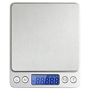 Toprime 2000g/0.01oz High Precision Stainless Steel Multifunction Pocket Digital Scale,Silver