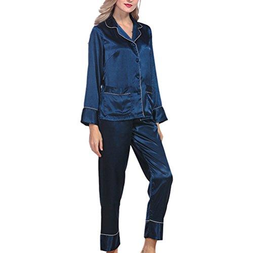 Zhhlaixing Ladies Silk Satin Pajama Set Lace Pyjama Set Luxury Silk Sleepwear Nightgown Dress Woman Bathrobe Pajamas 2120# Dark Blue