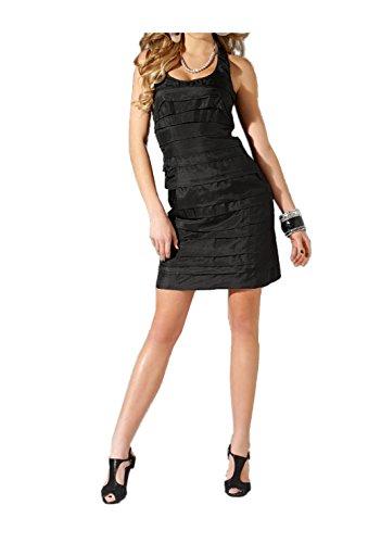 Seiden Schwarz Schwarz Kleid Damen LIPSY Volantkleid 0pEqg7wxqn
