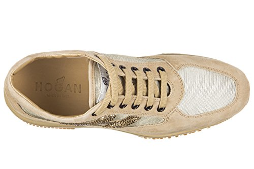 Hogan chaussures baskets sneakers femme en daim interactive h strass beige