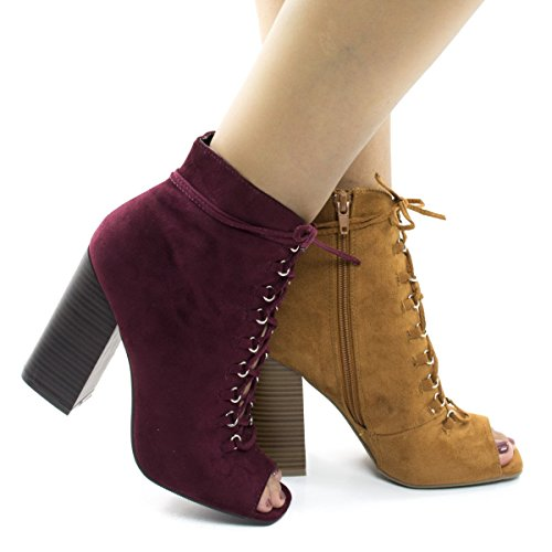 Peep Toe Corset Lace Up Stacked Chunky Heel Ankle Booties