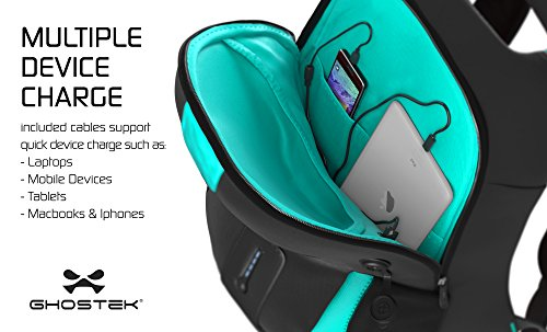 Ghostek-NRGbag-Series-Computer-Laptop-Messenger-Backpack-Book-Bag-Battery-Power-Bank-Water-Resistant-7000mAh-Lightweight-Multipurpose-Fits-Laptops-Up-To-156-iPhone-Macbook-Teal