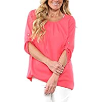 dokotoo Womens Casual Solid Cuffed Sleeve Chifón Blusas Tops Camisetas