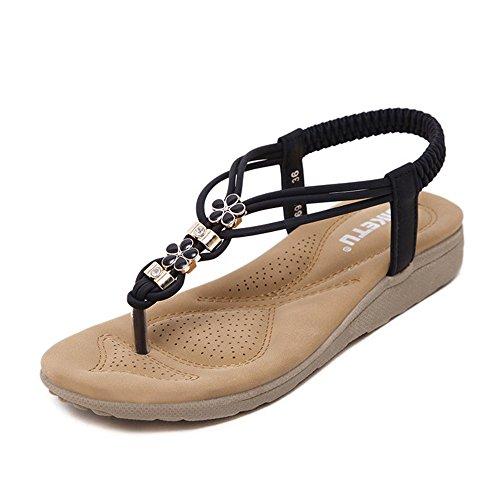 COPPEN Women Sandals Bohe Rhinestone Flat Large Size Casual Beach Shoes Black