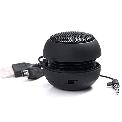 Zehui Mini Column Speaker Burger Style Hamburger Stereo Sound Box loudspeaker Audio Music MP3 Player for Mobile Phones Tablet Computer 3.5mm Audio Plug Black