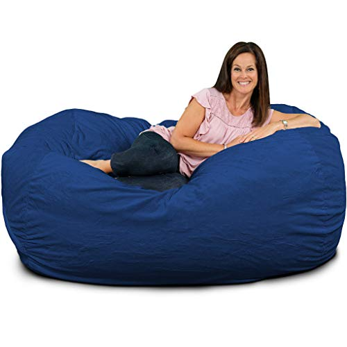 ULTIMATE SACK Bean Bag Chairs in Multiple Sizes and Colors: Giant Foam-Filled Furniture - Machine Washable Covers, Double Stitched Seams, Durable Inner Liner. (Lounger, Electric Blue Suede)