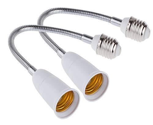 E27 Flexible Light Bulb Lamp Socket Adapter Extender/Adjustable Edison Bulb Socket Extension for Home Light Fixtures/LED Grow Light Socket Stand etc (11.8inch)