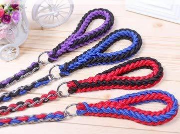bluee black LTangFei Dog Chain Medium Large Dog Dog golden Hair Labrador Dog Walking Rope Chain Collar Chain Traction (color   bluee Black, Size   L)