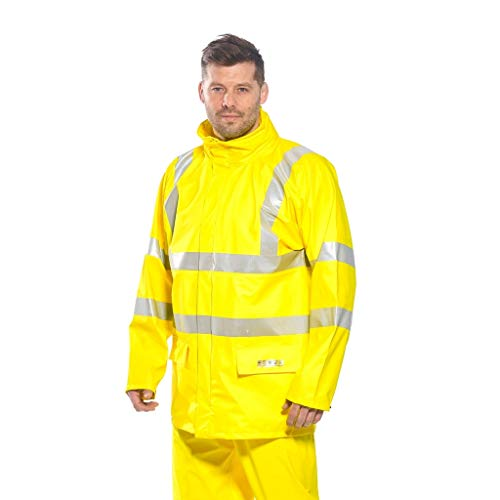 (Brite Safety FR Hi Vis Jacket - ANSI Class 3 Compliant Flame Resistant High Visibility Jackets (Yellow,5XL))