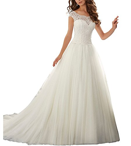 Beauty Bridal 2016 Simple Long A-Line Cap Sleeve Train Lace Wedding Dresses(16,Ivory)