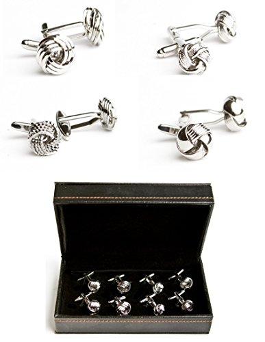 (MRCUFF Knots 3D Swirl Designer Ridged Notched 4 Pairs Cufflinks in a Presentation Gift Box & Polishing Cloth)