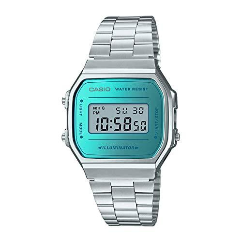 Casio A168WEM-2 Men's Youth Collection Mirror Dial Alarm Chronograph Illuminator Digital Watch
