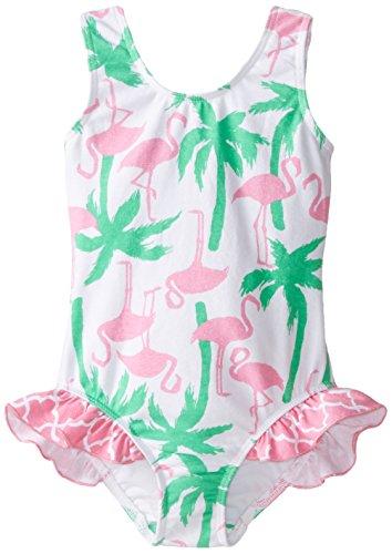 Flap Happy Little Girls' Delaney Hip Ruffle Swimsuit, Flamingo Fun, 4