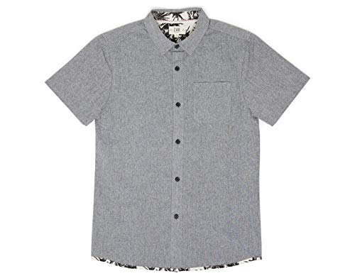 Zak Brand Kids for Boys Button Down Shirt Short Sleeve Casual, Grey Oxford Chambray, Contrast Piping (Small (8))