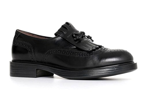 mujer cordones Giardini para negro de Zapatos Nero Piel de qZwBqO
