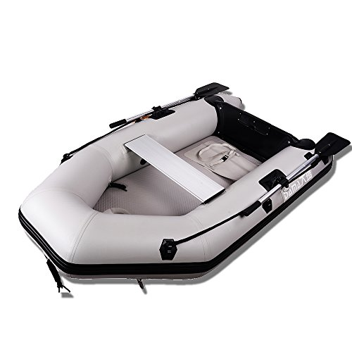 - DSM230 7.5 Foot Inflatable Boat with Aluminum Floor Heavy Duty Design 2 Person Raft Sport Motor Fishing Boat 3 Keel Air Chambers Gray