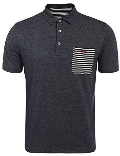 (クーファンディ) Coofandy ポロシャツ メンズ 半袖 Tシャツ ゴルフウェア トレーニングシャツ ゴルフシャツ トップス ボーダー スポーツ ビジネス 通勤 普段着 吸汗速乾 おしゃれ カジュアル フィットネス M - XXL チャコール 紺