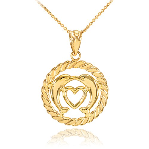 10k Yellow Gold Roped Circle Open Heart with Kissing Dolphin Pendant Necklace, 22