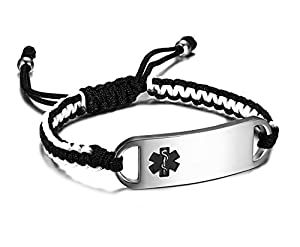 JF.JEWELRY Medical Alert ID Bracelets for Girls & Boys Nylon Rope Hand Braided Bracelet,Free Engraving
