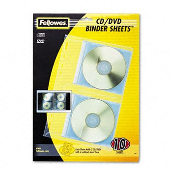 Fellowes Vinyl CD/DVD Protector Sheets for Three-Ring Binders PROTECTOR,F/CD,DVD,10PK R6070 (Pack of5) (Case Dvd / Cd Fellowes)