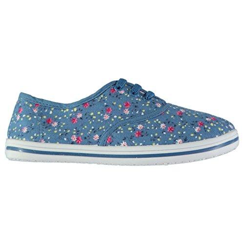 Slazenger Niños Zapatos de Tela Ligeros ChiLadies Con Gabetes Azul Floral