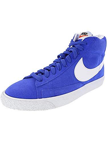 Nike Men's Blazer Mid PRM Racer Blue/White Mid-Top Leather Basketball Shoe - -