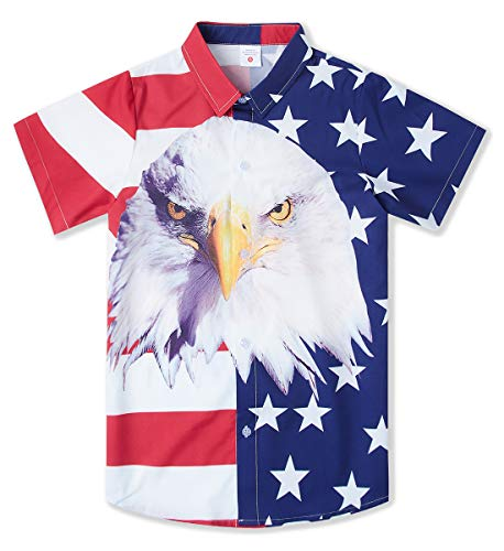 Dress Shirt for Size 11Y 12Y 13 Old Juniors Boy's American Flag White Flags Animal Graphics Button Up Short-Sleeve 3D Digital Floral Print Shirts Vintage School Guys Uniform Clothes in Birthday Party