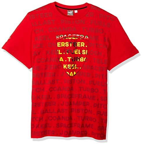 (PUMA Men's Standard Scuderia Ferrari Big Shield T-Shirt, Soft Pink Rosso Corsa, L)