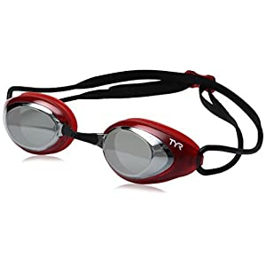 TYR Blackhawk Racing Mirrored Googles, Silver/Red/Black, One Size