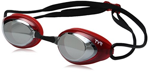 TYR Blackhawk Racing Mirrored Googles, Silver/Red/Black, One Size ()