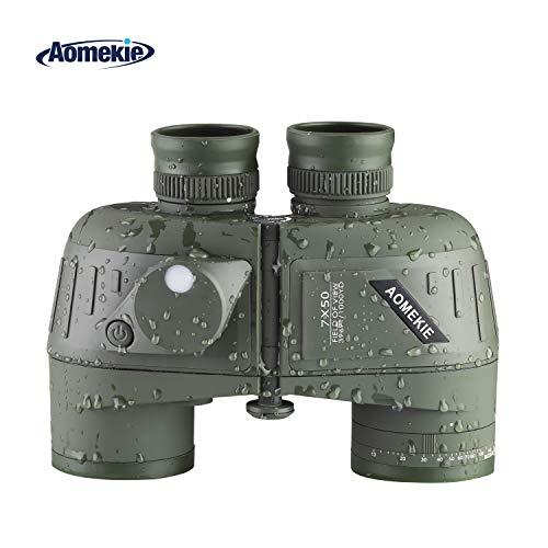 Aomekie-Waterproof-Binoculars-7X50-for-Adults-Marine-Binoculars-with-Illuminated-Rangefinder-Compass-Case-and-Strap-BAK4-Porro-Prism-Night-Vision-BinocularsArmy-Green