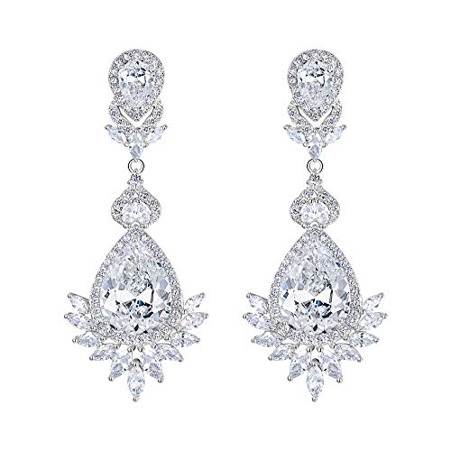 (EVER FAITH Cubic Zirconia Bridal Art Deco Tear Drop Pierced Dangle Earrings Clear Silver -Tone)