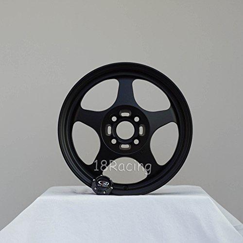 4 PCS ROTA SLIPSTREAM WHEELS 15X8 PCD:4X100 OFFSET:40 HB67.1 FLAT BLACK - Rota Wheel
