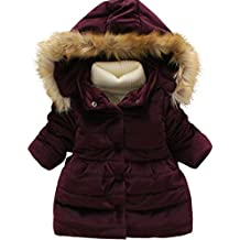KONFA Girls Stylish Hooded Wind Coat,Suitable for 1-7 Years old,Winter Warm Thick Cloak Clothes