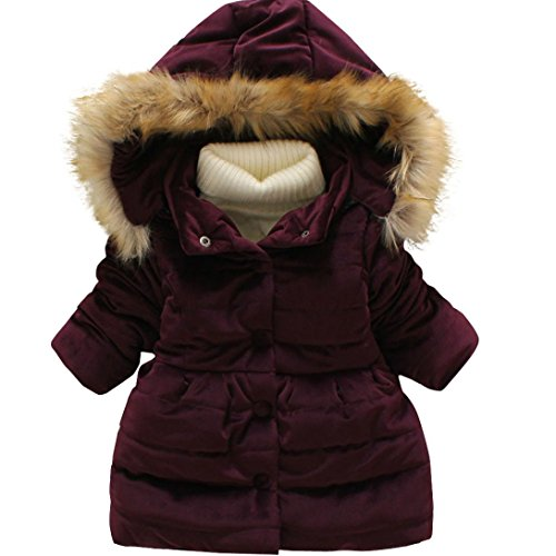 Old Navy Winter Coat (KONFA Girls Stylish Hooded Wind Coat,Suitable for 1-7 Years old,Winter Warm Thick Cloak Clothes (12-24 Months, Wine))