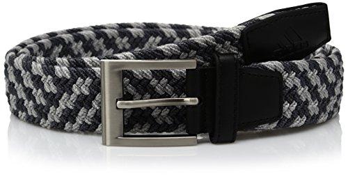 Adidas - Cinturón elástico Trenzado de Golf, Black/Mid Grey Vista Grey S, Grande/Extra Grande