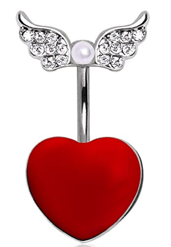 Belly Button Ring Navel 14g Heart Gemmed Angel wings Wings and ()