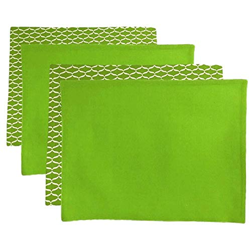 Chelsea Home Placemats Cotton Kitchen Dining Room Table Fabric Solid Geometric Pattern Rectangular Cloth Place Mats Bright Lime Washable Green White Set of 4 ()