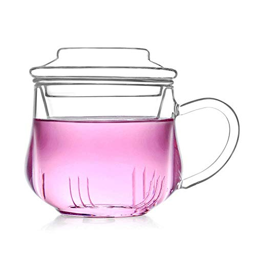 Herb Cup Saucer (QMFIVE Glass Tea Infuser Cup with Glass tea strainer and glass lid-10.5oz/300 ml,Borosilicate Glass, Durable Heat Resistant Hot Drink for Loose Leaf Tea Herbs Herbal Detox Dishwasher Safe)
