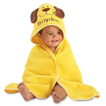 Lillian Vernon Personalized Baby Puppy Hooded Animal Beach & Bathroom Towel - Custom-embroidered name. Cotton, Machine wash; imported. 30