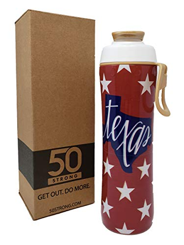 A&m Aggies Texas Water (50 Strong State of Texas Water Bottle - 24 oz. BPA Free - TX Lonestar State Pride for University Students, Fans, and Proud Texans - Made in USA (Texas Stars))