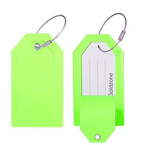 PVC Rubber Luggage Tags w/Full Privacy Flap,Great for Luggage Cases Identification by Goldzone (Green-4 Pack) by Goldzone (Image #6)