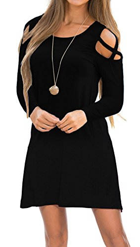 Womens Dresses Cold Shoulder Round Neck Loose Tunic Casual T Shirt Dress Black ()
