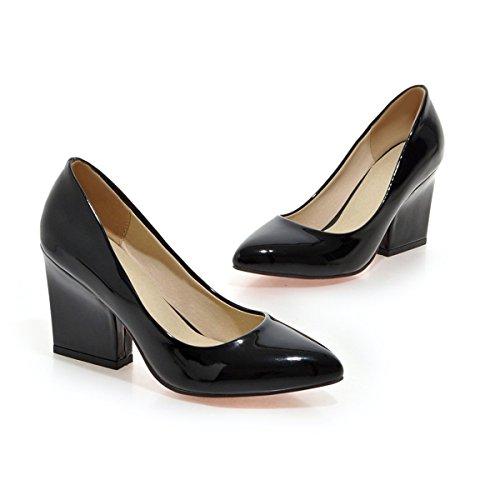 YE Damen Spitze Pumps Lack Blockabsatz High Heels mit Absatz 9cm Elegant Schuhe Schwarz