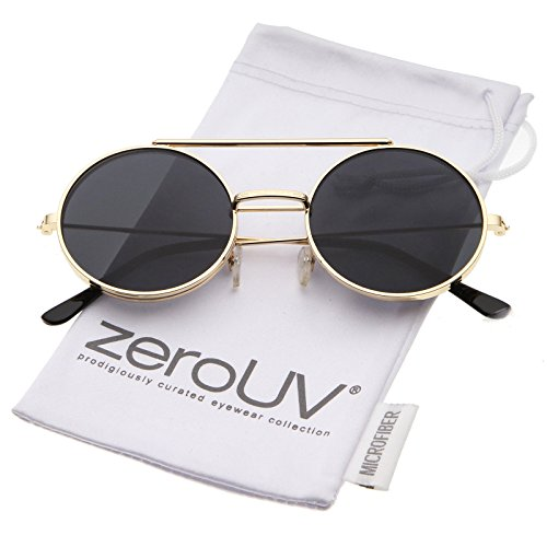 zeroUV - Mid Size Flip-Up Neutral-Colored Lens Round Django Sunglasses 49mm (Gold / - Sunglasses Django