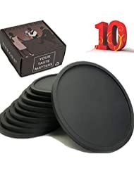 Drink Coasters Set of 10, Super Value Pack in Gift Box Holder, Spill Protection For Table of Wood, Granite or Marble Stone Surface, Durable and Non Slip Silicone Coaster Fit Common Size Drinking Glass