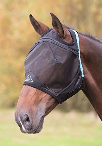 Shires Fine Mesh Fly Mask With Ear Hole - Black - Cob by Shires
