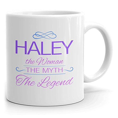 Haley Coffee Mugs - The Woman The Myth The Legend - Best Gifts for Women - 11oz White Mug - Purple