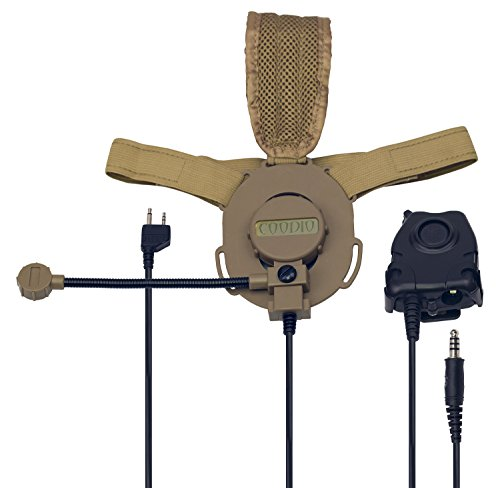 Coodio Midland Radio Headset 2 Pin Tactical [Military Army Outdoor Sports] [Heavy Duty] Headphone [Boom Microphone] [Noise Cancelling] Earpiece For 2-Pin Midland X-TALKER Walkie Talkie Two Way Radio by Coodio